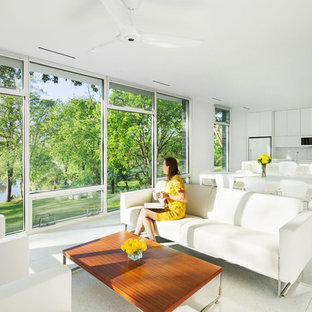 Minimalist Open Concept White Floor Living Room Photo With White Walls