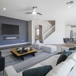 Tv Wall Mounted Clear All Example Of A Transitional Open Concept Gray Floor Living Room Design In Las Vegas With