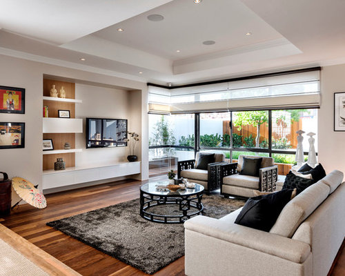 Large Zen Open Concept Living Room Idea In Perth With Beige Walls And A Wall