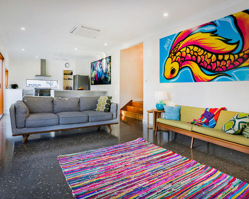 Inspiration For An Eclectic Living Room In Townsville With White Walls. Part 88