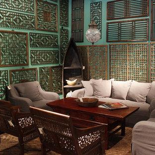 Modelo de salón asiático con paredes verdes