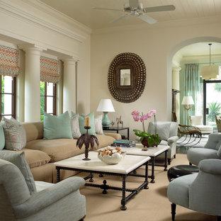 Modelo de salón cerrado, tropical, con paredes beige