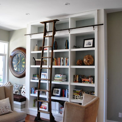 Example of a trendy living room library design in Ottawa