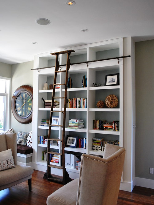 Example Of A Trendy Living Room Design In Ottawa With Library