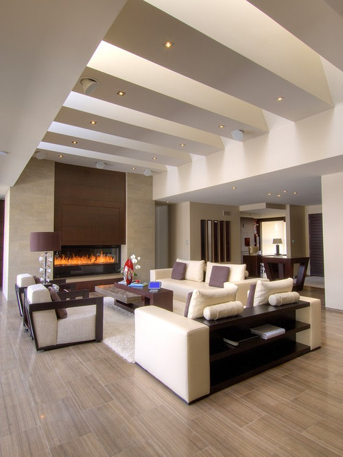 Living Room   Large Contemporary Open Concept Porcelain Floor And Brown  Floor Living Room Idea In