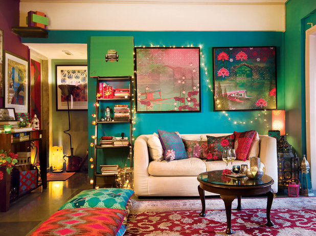 Eclectic Living Room by Prachi Damle Photography