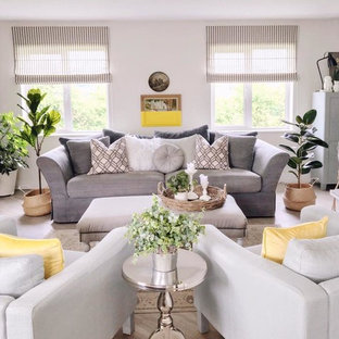 リムリックの中サイズのコンテンポラリースタイルのおしゃれなLDK (白い壁、ラミネートの床、薪ストーブ、漆喰の暖炉まわり、壁掛け型テレビ、ベージュの床) の写真