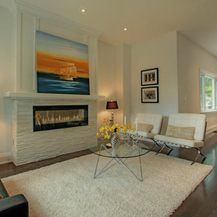Design ideas for a modern living room in Toronto with a stone fireplace surround.
