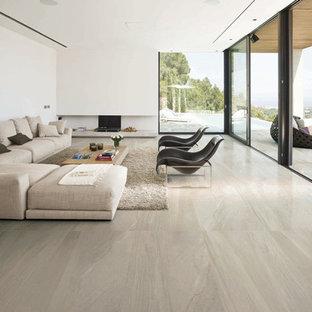 Großes Modernes Wohnzimmer mit weißer Wandfarbe und Keramikboden in San Diego