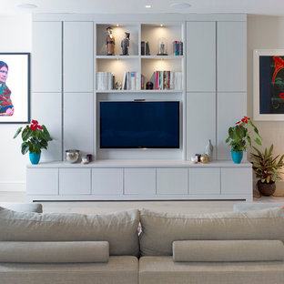 Living Room Contemporary Idea In London With A Wall Mounted Tv