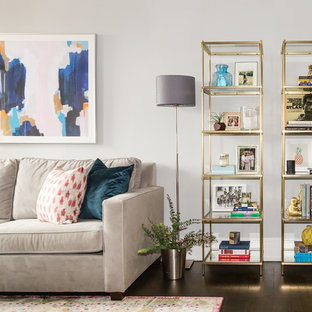 Mid-sized eclectic open concept dark wood floor living room photo in DC Metro with beige walls and no fireplace