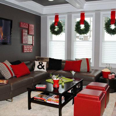 Trendy living room photo in Edmonton