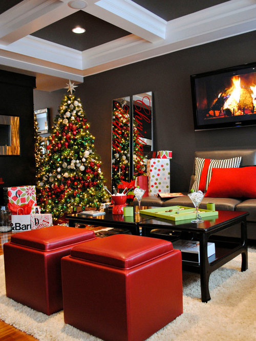 Decorated christmas trees home design ideas pictures for Xmas living room ideas