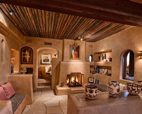 Example Of A Southwest Beige Floor Living Room Design In Phoenix With Brown  Walls And A