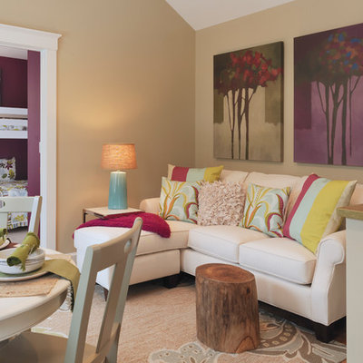 Trendy living room photo in Other with beige walls