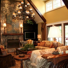 Rustic Living Room by CIMARRON BUILDERS INC