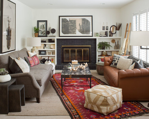 Save Photo  Cook Design House. Best Eclectic Living Room with a Brick Fireplace Surround Design