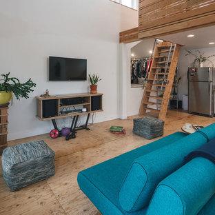 Cette photo montre un petit salon moderne avec un sol en contreplaqué.