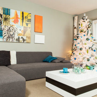 This is an example of a medium sized contemporary living room in Vancouver with grey walls.