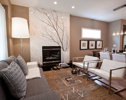 Small Contemporary Open Concept Living Room Idea In Calgary With A Standard Fireplace Brown Walls