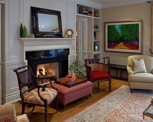 Chairs in front of fireplace houzz for Front room furniture sets