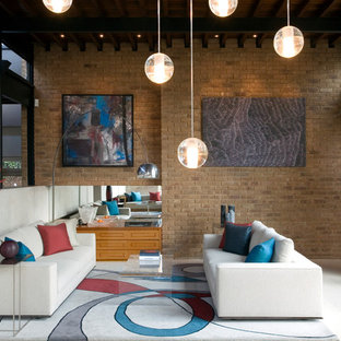 Inspiration for a medium sized contemporary formal living room in London with no fireplace and white floors.