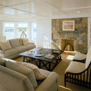Inspiration for a large beach style living room remodel in Boston with a stone fireplace and no tv