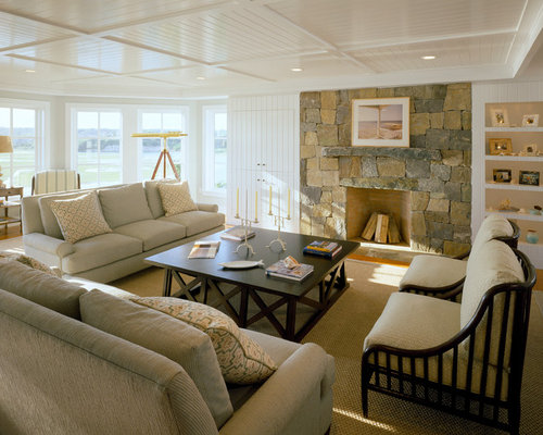 Inspiration For A Large Beach Style Living Room Remodel In Boston With  Stone Fireplace And Low Living Room Ceilings Ideas Photos Houzz.