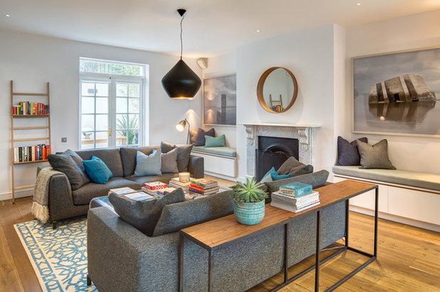 klassisch modern wohnbereich by alex findlater ltd - Bcherregal Ideen Neben Kamin