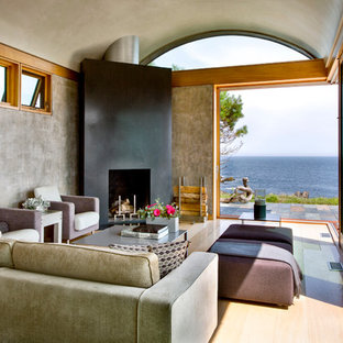 Diseño de salón contemporáneo con paredes grises, suelo de madera en tonos medios y chimenea de esquina