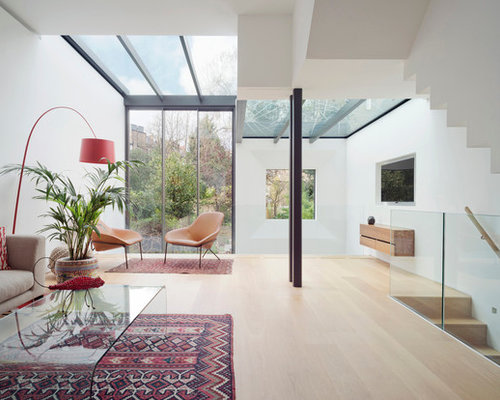 Design Ideas For A Medium Sized Retro Living Room In London With White  Walls, Light Part 97