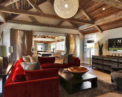 Living Room Red Sofa | Houzz