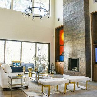 Ejemplo de salón minimalista con suelo de baldosas de cerámica y suelo gris