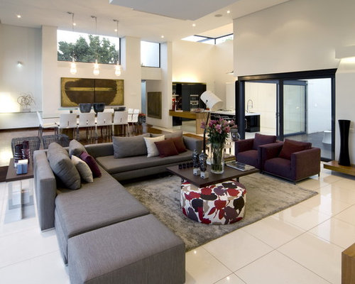 Inspiration For A Huge Contemporary Open Concept White Floor Living Room  Remodel Part 51