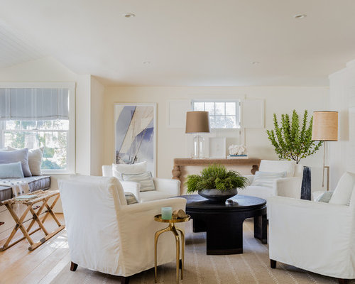 Mid Sized Beach Style Formal And Open Concept Light Wood Floor And Beige  Floor Living