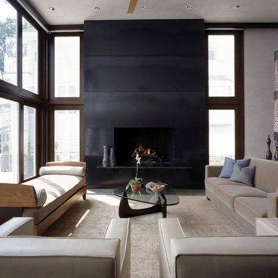 Example of a minimalist living room design in New York with a metal fireplace