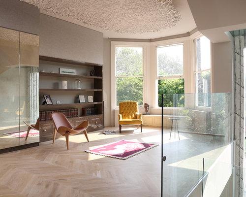 Salon mansard ou avec mezzanine contemporain photos et id es d co de salons mansard s ou avec - Maison originale bagnato architecte ...