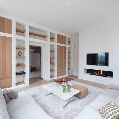 Living room - scandinavian formal and enclosed light wood floor living room idea in Amsterdam with white walls, a ribbon fireplace, a plaster fireplace and a wall-mounted tv