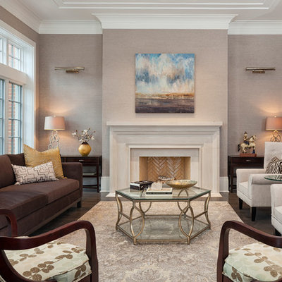 Living room - large transitional formal dark wood floor and brown floor living room idea in Chicago with a standard fireplace, a stone fireplace, no tv and gray walls