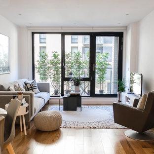 Ispirazione per un piccolo soggiorno scandinavo aperto con libreria, pareti bianche, pavimento in laminato, nessun camino e TV autoportante