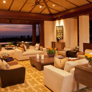 Inspiration for a tropical living room in Hawaii.