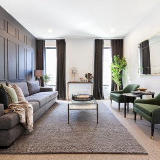 Design ideas for a contemporary formal enclosed living room in Melbourne with grey walls, carpet, beige floor and panelled walls.