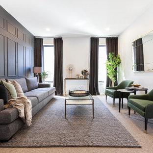 Idées déco pour un salon contemporain fermé avec une salle de réception, un mur gris, moquette, un sol beige et du lambris.