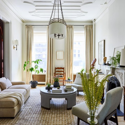 Example of a transitional medium tone wood floor and brown floor living room design in New York with white walls