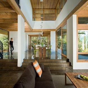 Bild på ett mellanstort funkis allrum med öppen planlösning, med vita väggar, kalkstensgolv och brunt golv