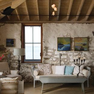 Inspiration för maritima separata vardagsrum, med flerfärgade väggar