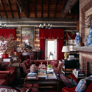 Inspiration for a rustic living room remodel in DC Metro with a standard fireplace and a brick fireplace