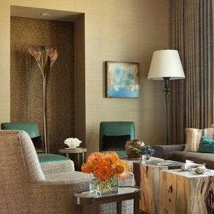 Example of a mid-sized trendy living room design in Orange County with beige walls
