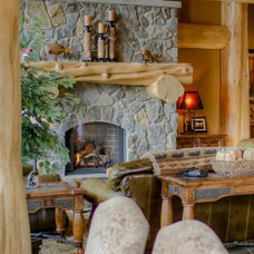 Traditional Living Room by Sitka Log Homes