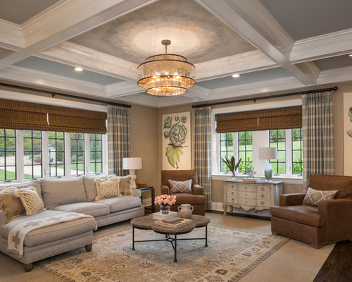 traditional family room ideas. Elegant dark wood floor and brown family room photo in Cincinnati  with beige walls 25 Best Traditional Family Room Ideas Designs Houzz